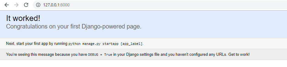 Congratulations on your first Django-powered page.